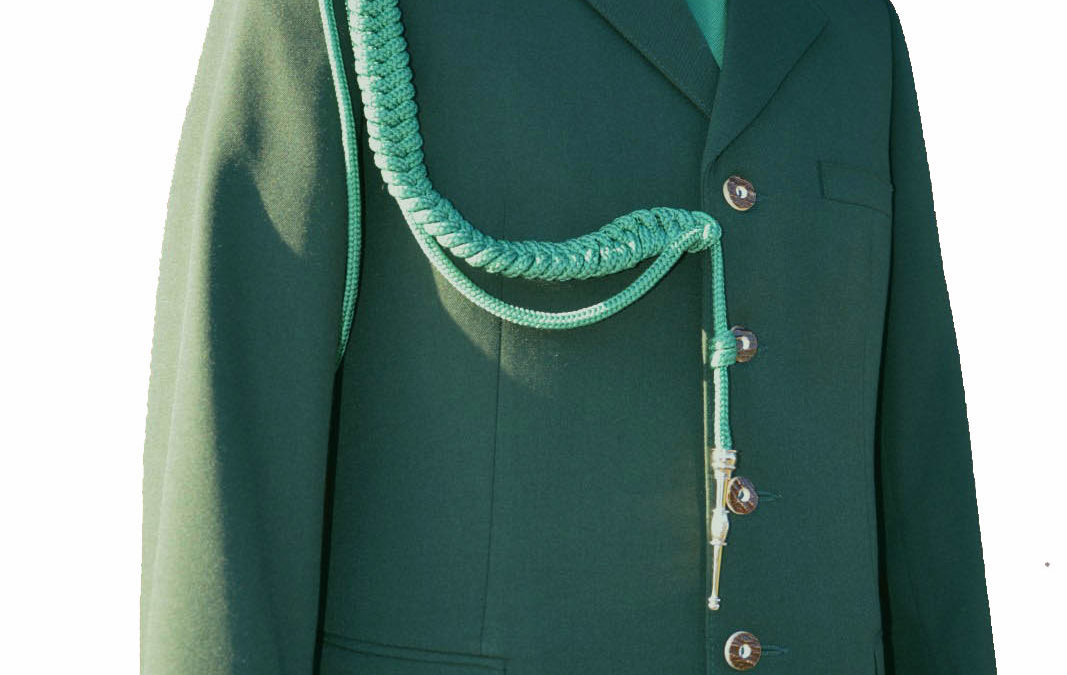 Mundur z elano-wełny + sznur + krawat z haftem + kapelusz z włosia króliczego (gabardyna) + patki (2 szt)