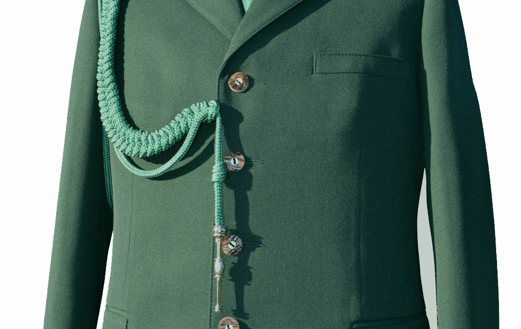 Mundur elano-wiskoza + sznur + krawat + kapelusz z włosia króliczego + patki (2 szt)